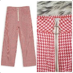Topshop Moto Cropped Wide Leg Pants Red White Houndstooth Mod 60s 70s High Waist